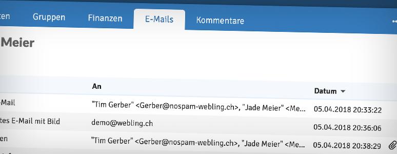 E-Mails zu jedem Mitglied anzeigen