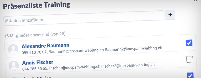 Webling Präsenzliste